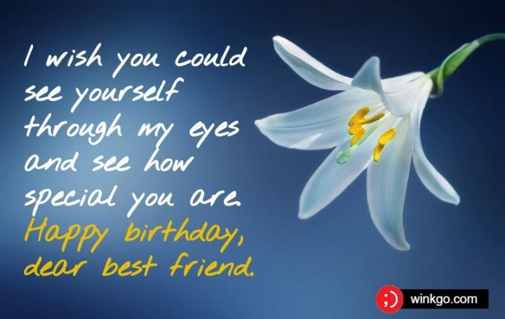 """43 Birthday Wishes For Friends - """"I wish you could see yourself through my eyes and see how special you are. Happy birthday, dear best friend."""""""