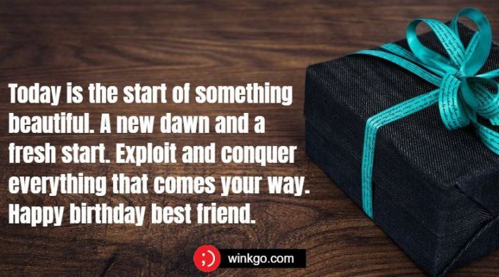"""43 Birthday Wishes For Friends - """"Today is the start of something beautiful. A new dawn and a fresh start. Exploit and conquer everything that comes your way. Happy birthday best friend."""""""