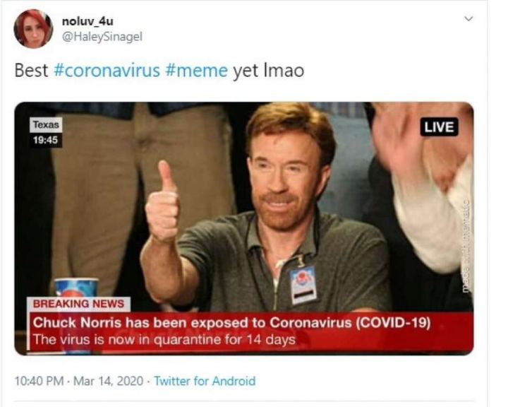 """53 Coronavirus Memes - """"Best coronavirus meme yet lmao: Chuck Norris has been exposed to coronavirus (COVID-19). The virus is now in quarantine for 14 days."""""""