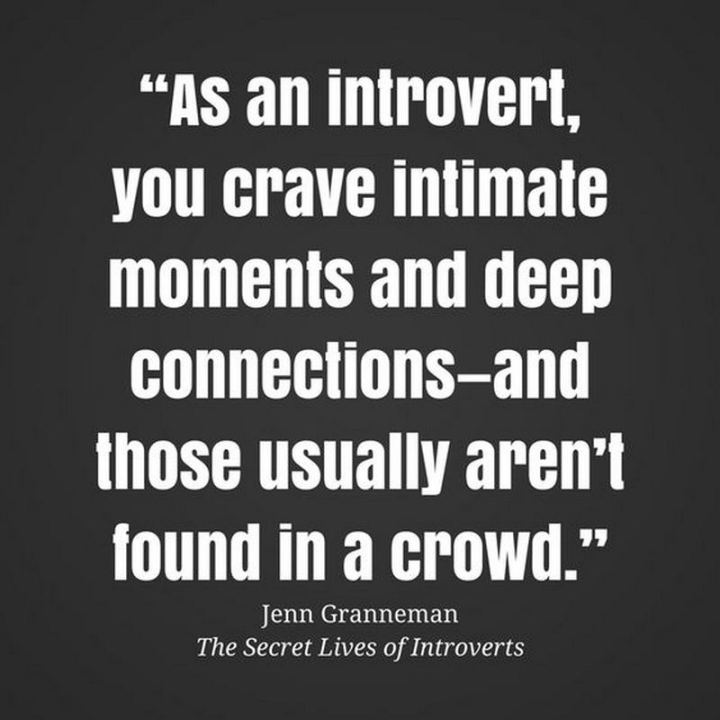 "75 Introvert Memes - ""As an introvert, you crave intimate moments and deep connections - and those usually aren't found in a crowd."""
