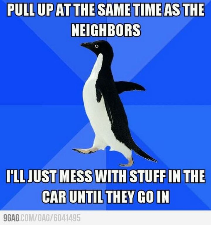 "75 Introvert Memes - ""Pull up at the same time as the neighbors. I'll just mess with stuff in the car until they go in."""