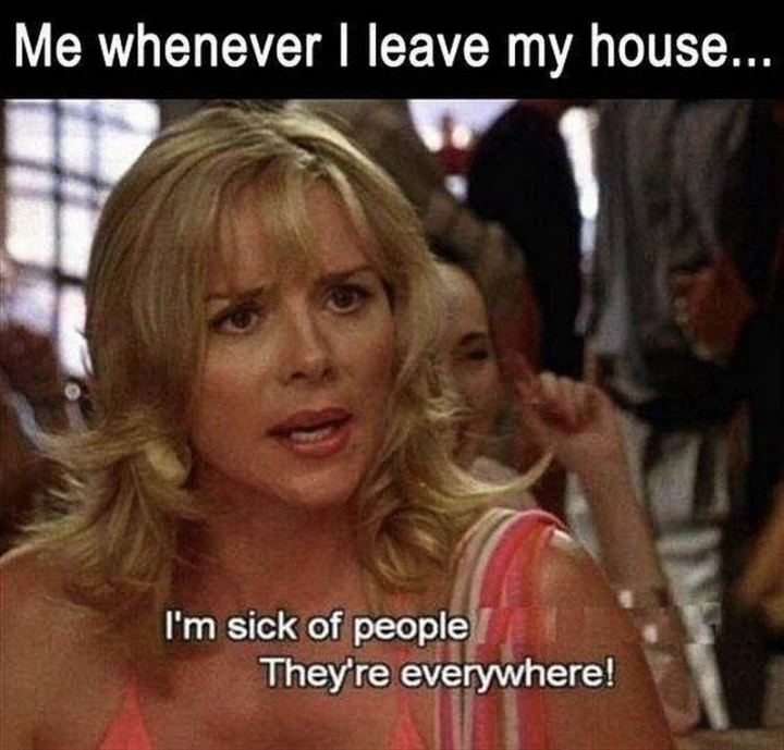 "75 Introvert Memes - ""Me whenever I leave my house...I'm sick of people. They're everywhere!"""