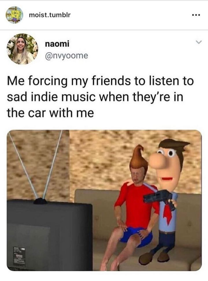 "53 Sad Memes - ""Me forcing my friends to listen to sad indie music when they're in the car with me."""