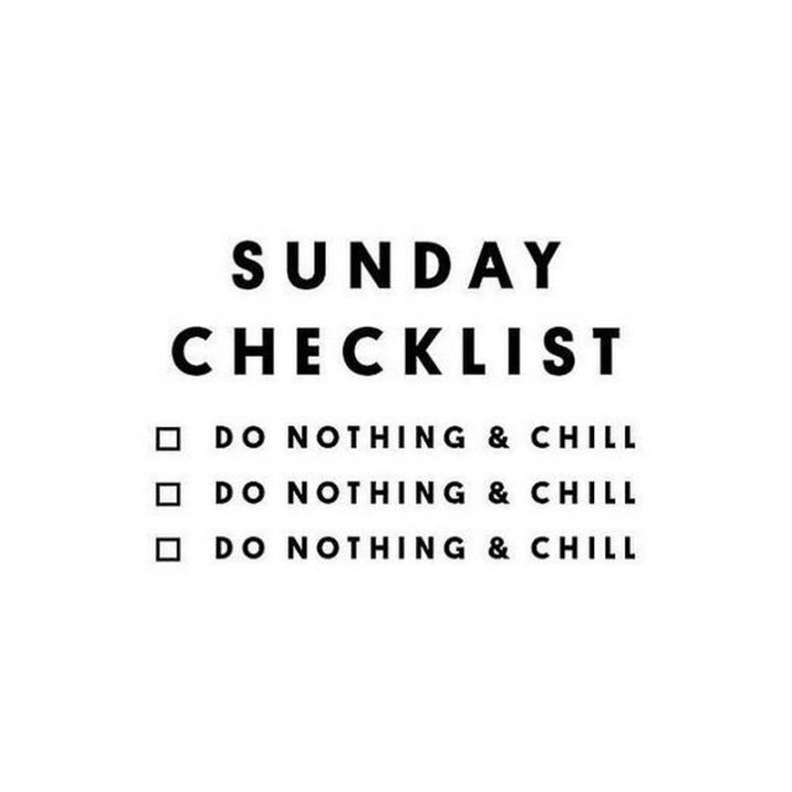 "47 Sunday Quotes - ""Sunday checklist. Do nothing & chill."" - Unknown"