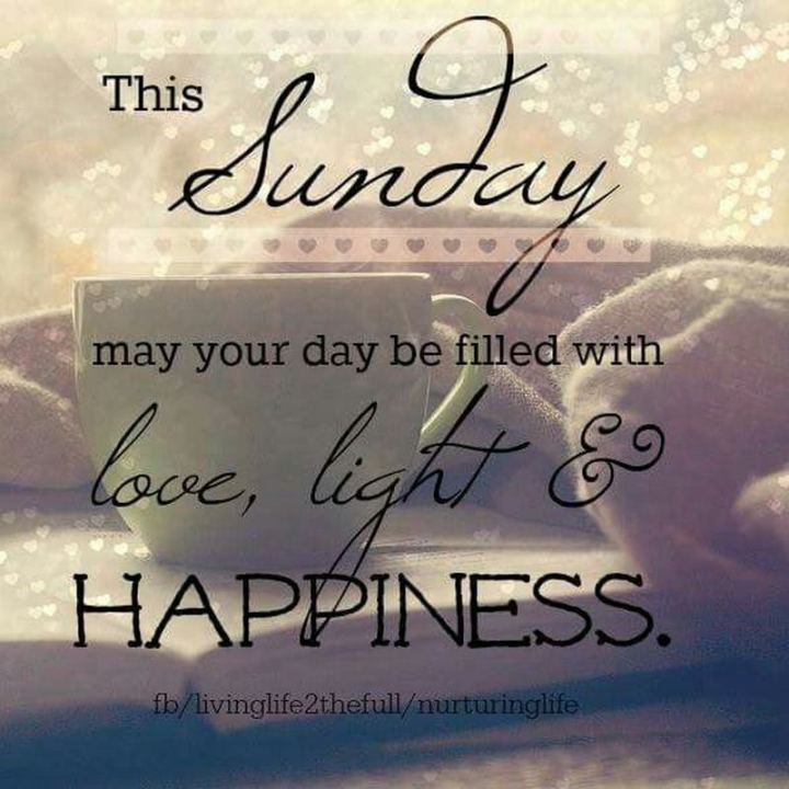 "47 Sunday Quotes - ""This Sunday may your day be filled with love, light, and happiness."" - Unknown"