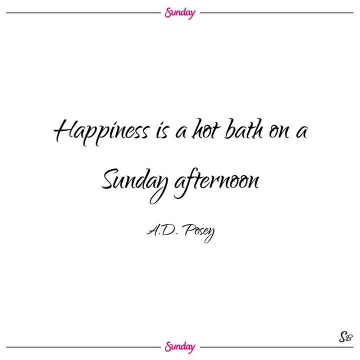 "47 Sunday Quotes - ""Happiness is a hot bath on a Sunday afternoon."" - A.D. Posey"