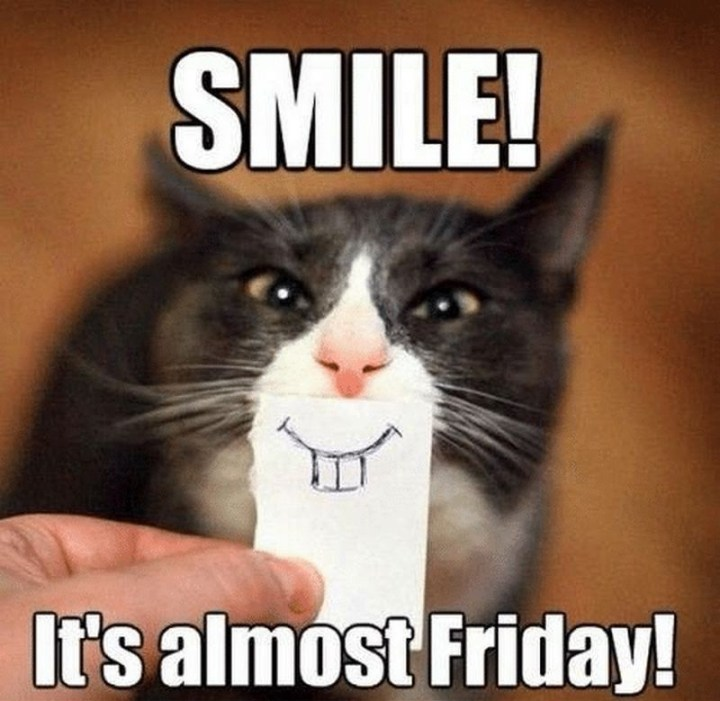 "55 ""Almost Friday"" Memes - ""Smile! It's almost Friday!"""