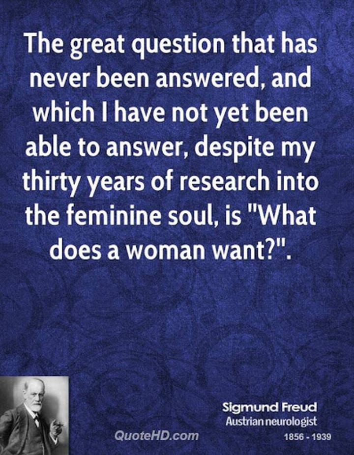"""53 Funny Love Quotes - The great question that has never been answered, and which I have not been able to answer, despite my thirty years of research into the feminine soul, is, 'What… does a woman want?'"""" - Sigmund Freud"""