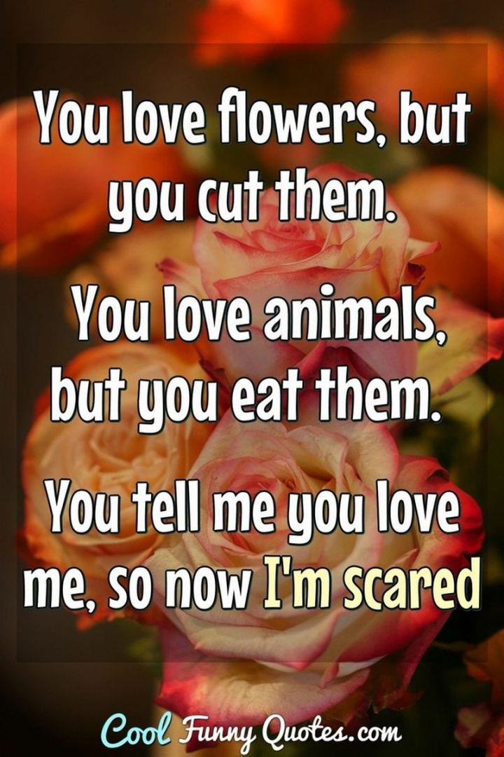 """53 Funny Love Quotes - """"You love flowers, but you cut them. You love animals, but you eat them. You tell me you love, so now I'm scared."""" - Anonymous"""