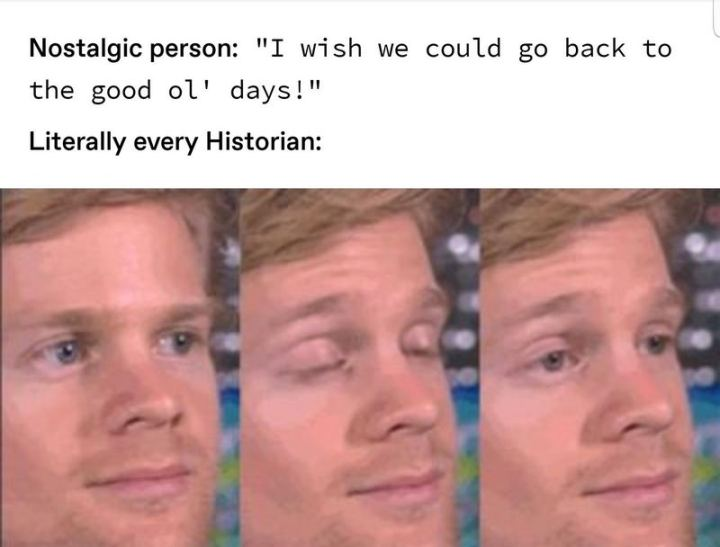 "55 Funny History Memes - ""Nostalgic person: I wish we could go back to the good old days! Literally every historian:"""
