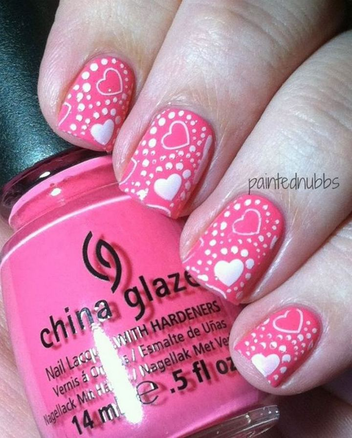 This pink Valentine's Day mani is super cute.