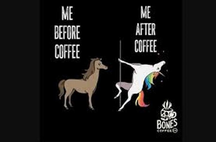 """Me before coffee VS Me after coffee."""