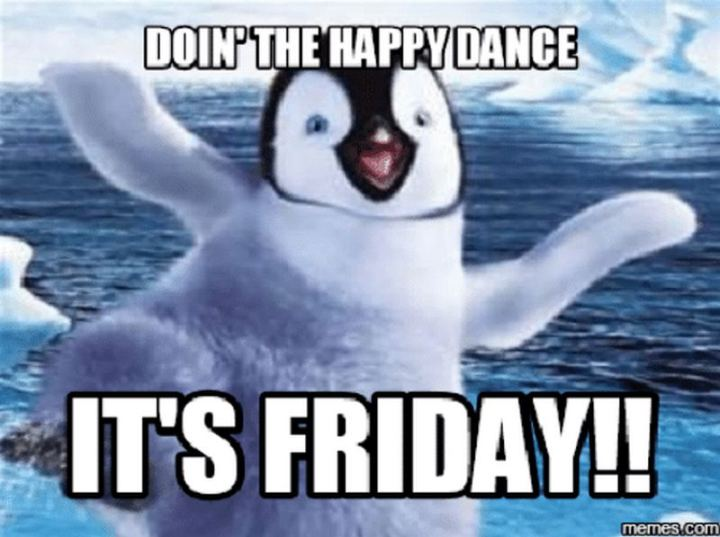"""Doing the happy dance. It's Friday!!"""