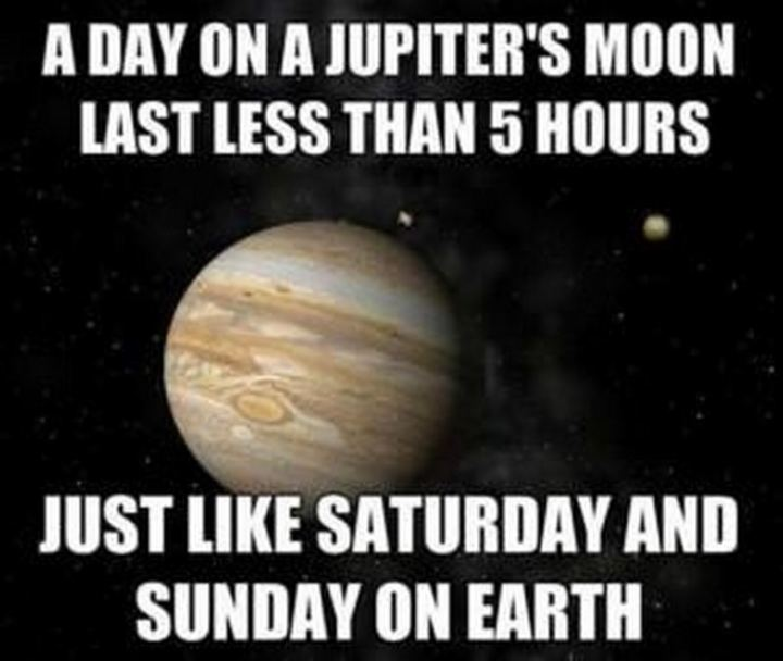 """A day on Jupiter's moon lasts less than 5 hours. Just like Saturday and Sunday on earth."""