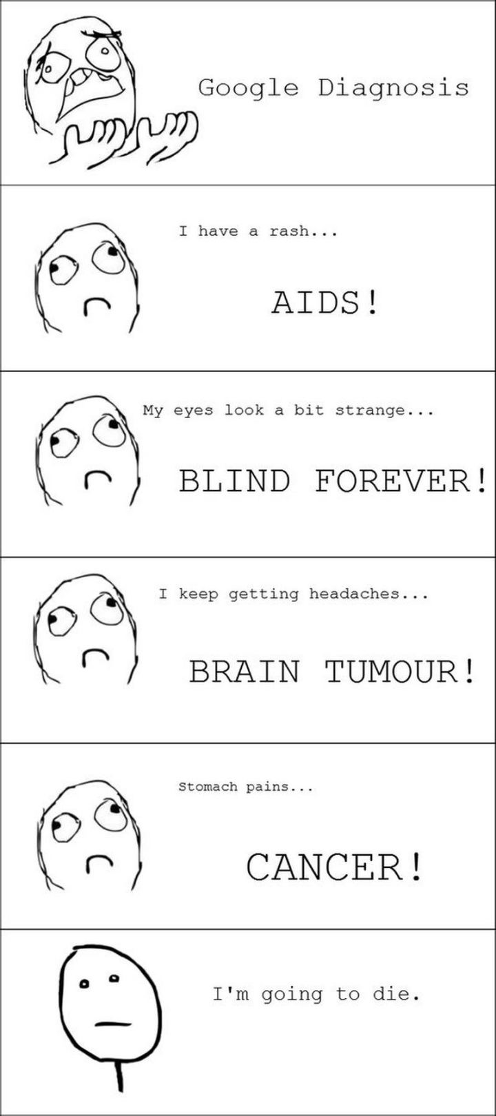 "67 Hypochondriac Memes - ""Google diagnosis. I have a rash...Aids! My eyes look a bit strange...Blind forever! I keep getting headaches...Brain tumor! Stomach pains...Cancer! I'm going to die."""