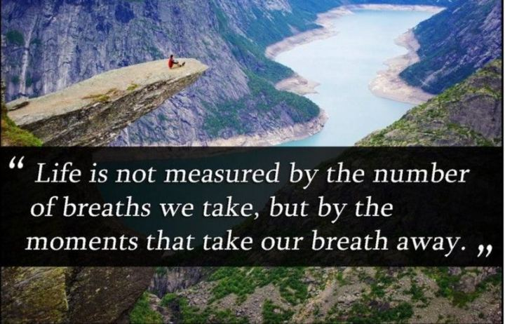 """Life is not measured by the number of breaths we take, but by the moments that take our breath away."""