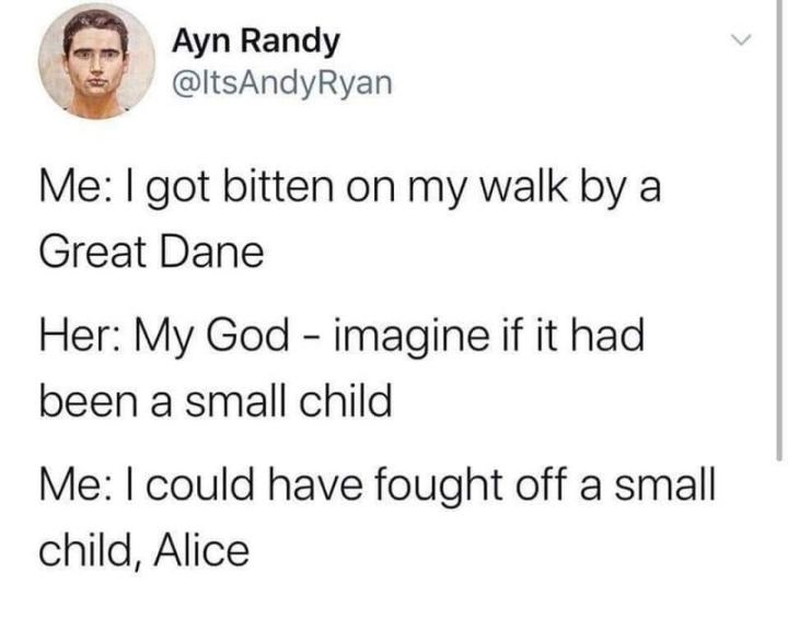 """71 Adult Memes - """"Me: I got bitten on my walk by a Great Dane. Her: My God - imagine if it been a small child. Me: I could have fought off a small child, Alice."""""""