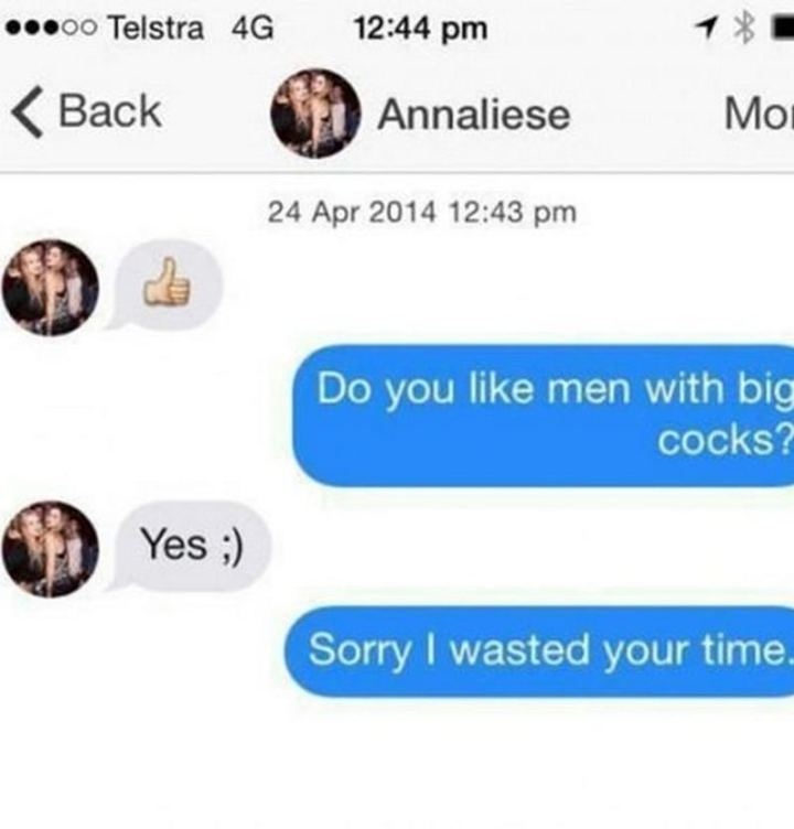 """71 Adult Memes - """"Do you like men with big [censored]? Yes ;) Sorry I wasted your time."""""""