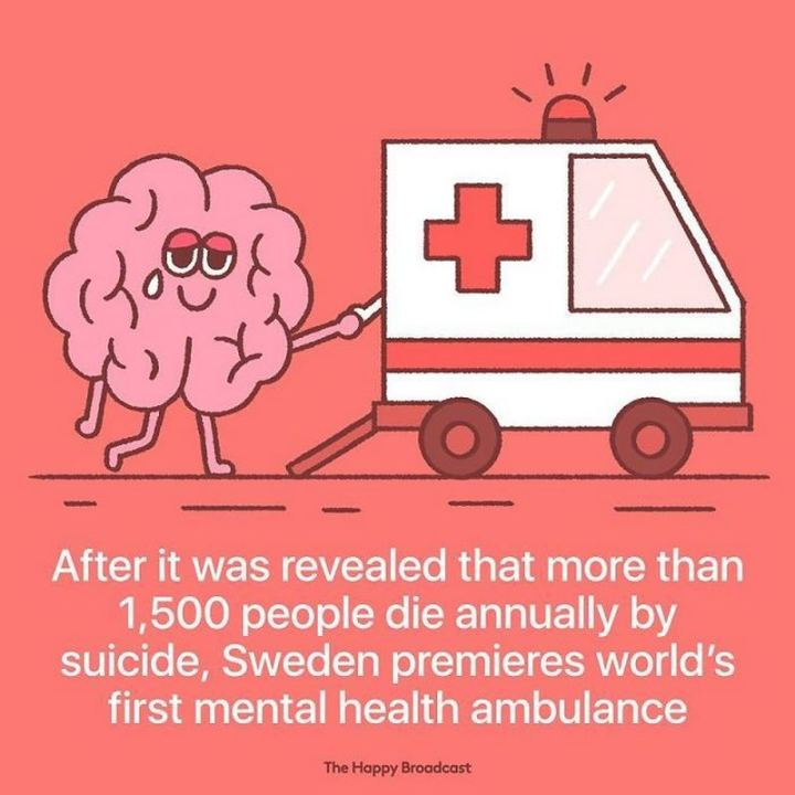 "The Happy Broadcast - ""After it was revealed that more than 1,500 people die annually by suicide, Sweden premieres the world's first mental health ambulance."""