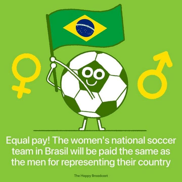 """Equal pay! The women's national soccer team in Brasil will be paid the same as the men for representing their country."""