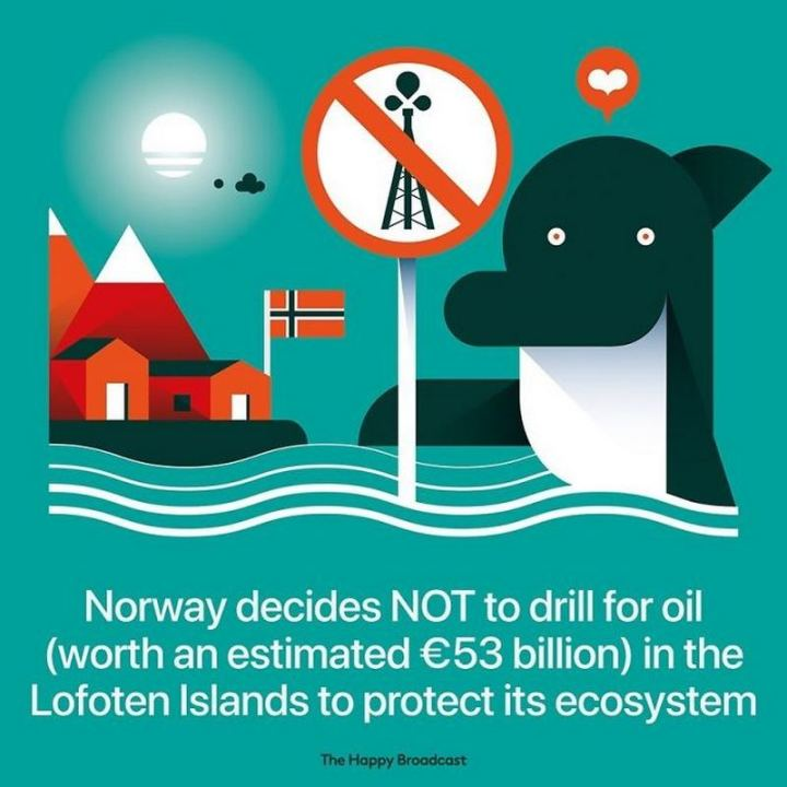 "The Happy Broadcast - ""Norway decides NOT to drill for oil (worth an estimated €53 billion) in the Lofoten Islands to protect its ecosystem."""