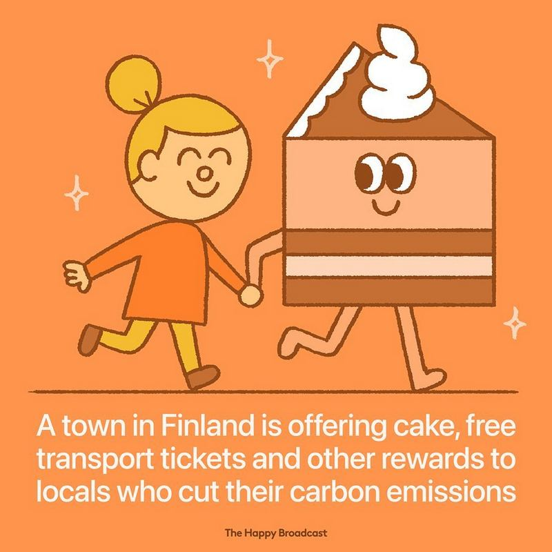 """A town in Finland is offering cake, free transport tickets, and other rewards to locals who cut their carbon emissions."""