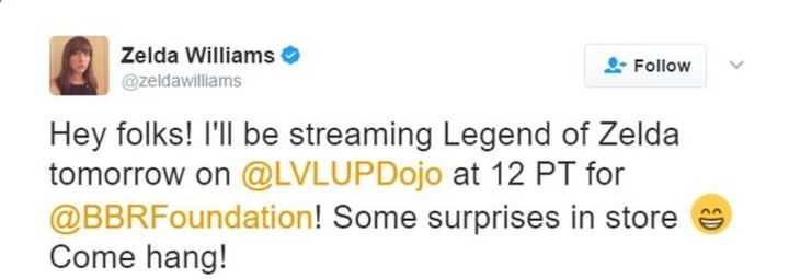 Zelda Williams announced on Twitter that she will be playing Legend of Zelda on March 9th, 2017 at noon PT for charity.