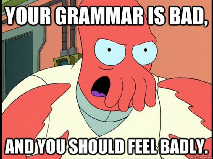 """""""Your grammar is bad, and you should feel badly."""""""