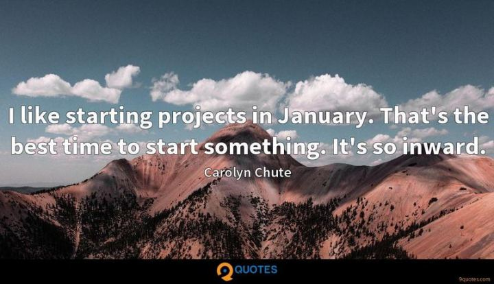 """I like starting projects in January. That's the best time to start something. It's so inward."" - Carolyn Chute"
