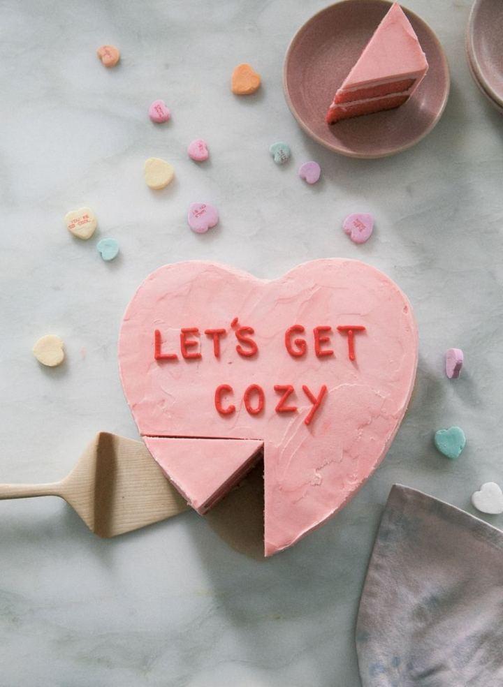 Strawberry Conversation Heart Cake.
