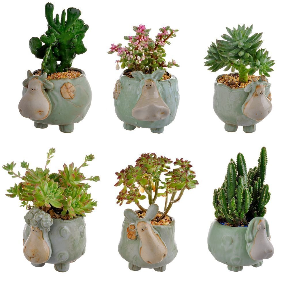 6 Pcs Sheep Shaped Succulents Plants Pot Retro Glaze Ceramic Goat Planter Cown Flower Pot Garden Yard Flower Succulent Bonsai Bed Trough Plant Diy Pot Home Desktop Decoration Winlyn