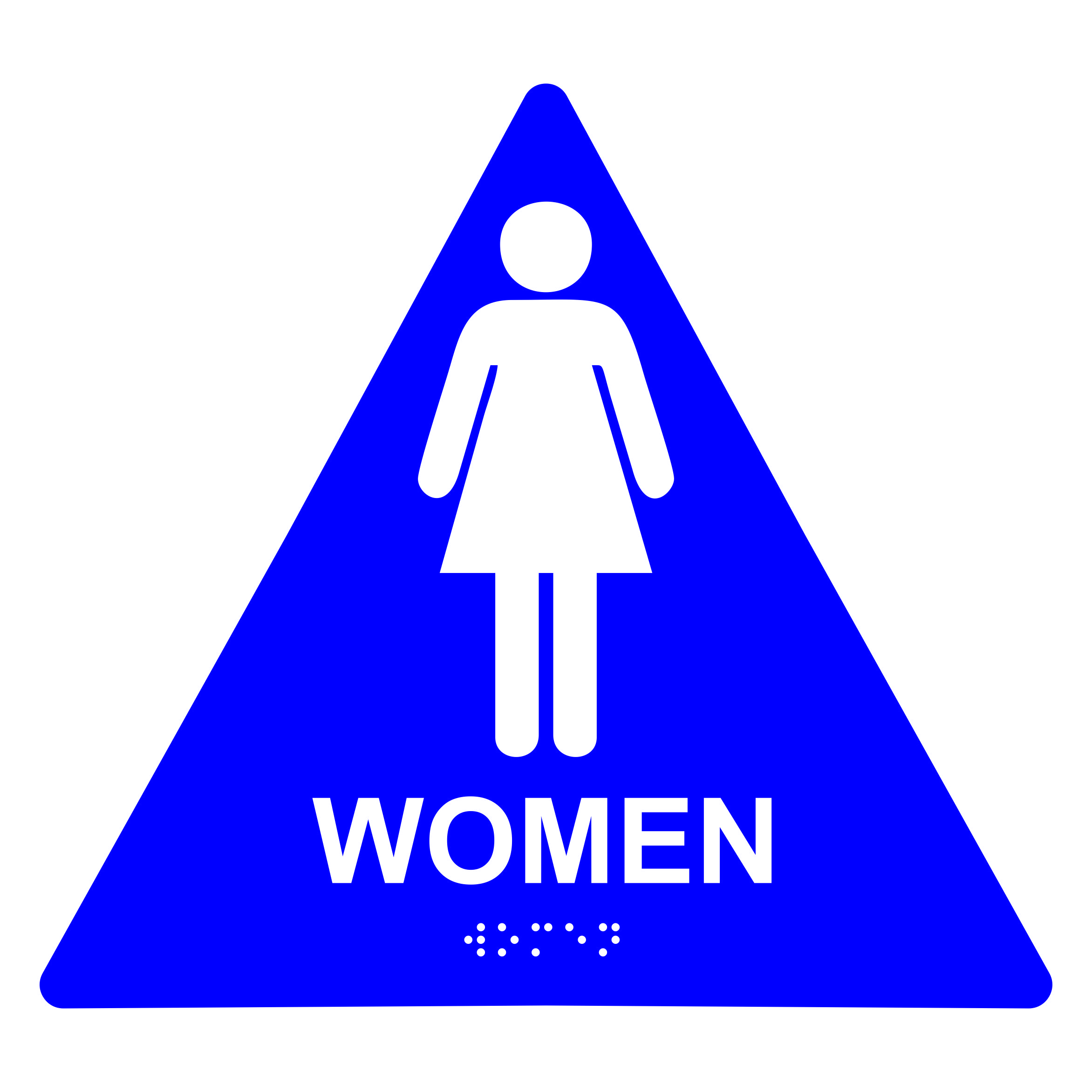 Women Restroom Triangle Economy Ada Signs With Braille Winmark