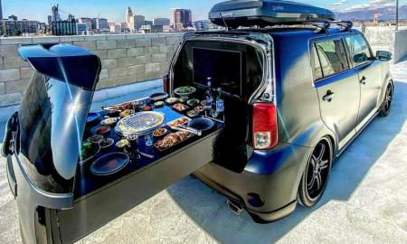 The Korean BBQ Car comfortably seats four and can be rented with several different menu experiences.
