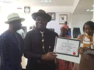 The Independent National Electoral Commission (INEC) has presented the Certificate of Return to Senator Douye Diri.