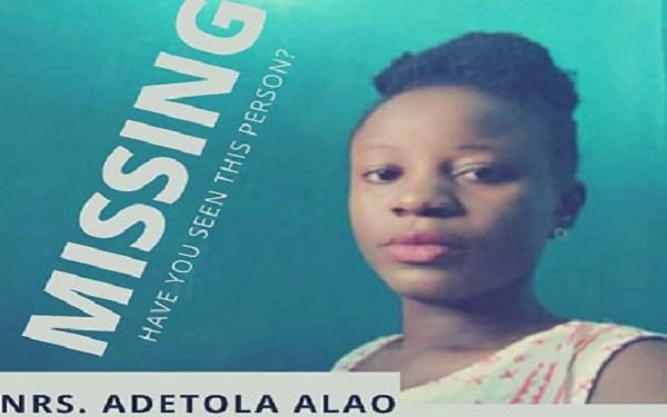 A Nurse Is missing in Lagos. A nurse, Adetola Alao, has not been seen since she boarded a bus from Bariga to Ebutte-Metta, Lagos around 6:30pm on Tuesday, June 16, 2020.