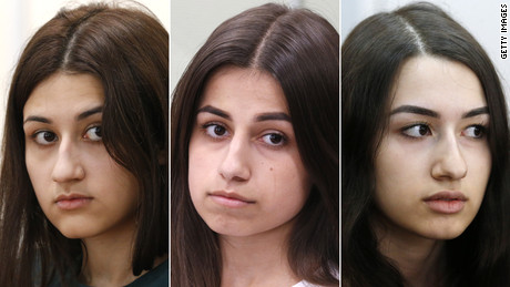 Three teen sisters who murdered their father after years of alleged torture and sexual abuse, are accused of lying by family members  Three Russian teen sisters, Krestina, 19, Angelina, 18, and 17 year old Maria Khachaturyan, charged with killing their
