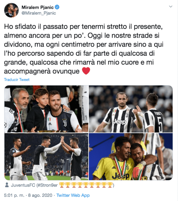 Pjanic Has Said Goodbye To Juventus.  The Bosnian midfielder used his social media to dedicate his last words as a Juve player before moving to Barca.