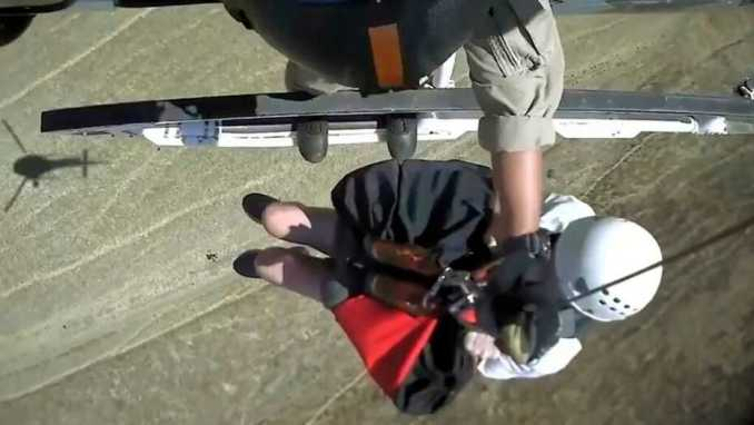 Cow and calf chase elderly California hikers who had to be airlifted out