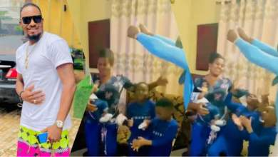 Actor Jnr Pope made it rain money on mother in law's birthday (Video)
