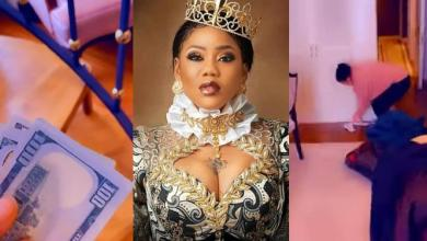 Toyin Lawani blesses her cleaner with plenty money for working hard