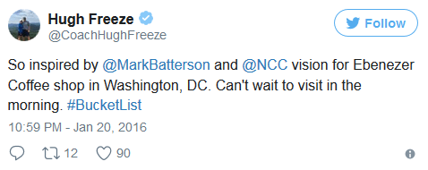 Hugh Freeze tweet Jan 20 2016