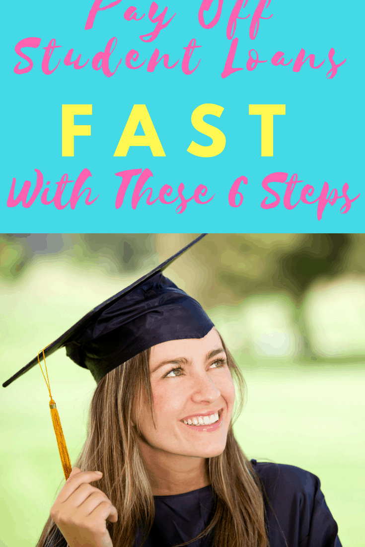 """""""Drowning in student loan debt? Learn how to pay it off with these six tips like getting on a budget and following Dave Ramsey's debt snowball for student loans."""
