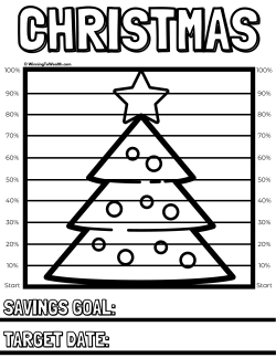 Track your progress as you save money in a sinking fund for Christmas Day with this downloadable coloring chart printable