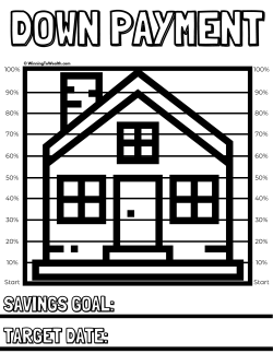 Track your progress as you save money for a down payment on a home with this downloadable coloring chart printable