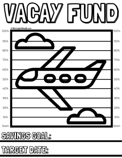 Track your progress as you save money towards your next vacation in a sinking fund with this downloadable coloring chart printable