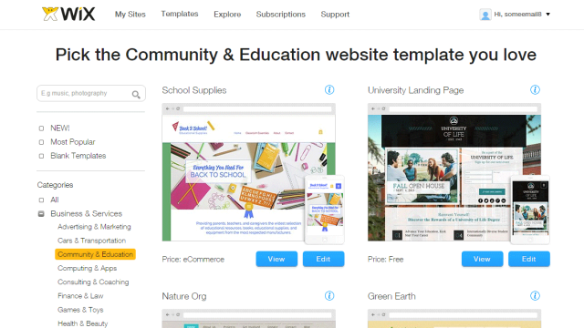 Wix template selection