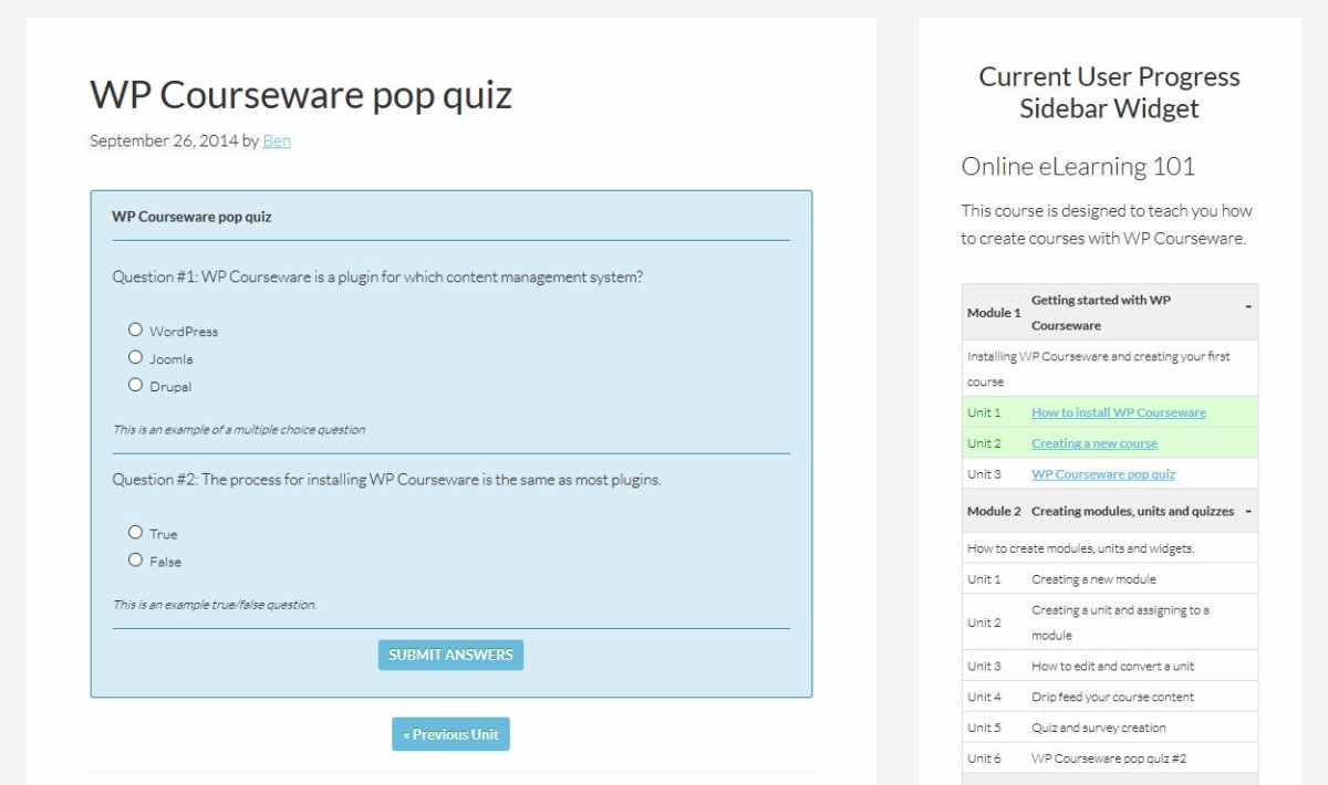 WP Courseware Quiz