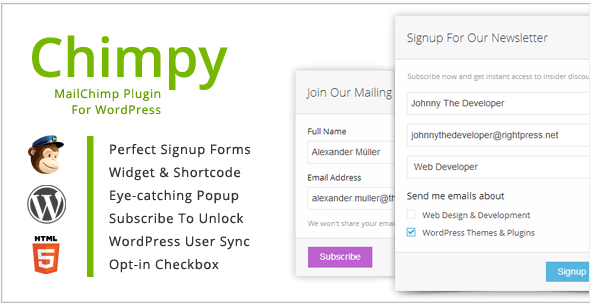 header image of Chimpy WordPress plugin for mailchimp