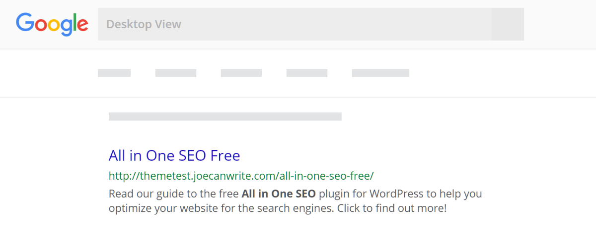 Preview of All in One SEO Fields