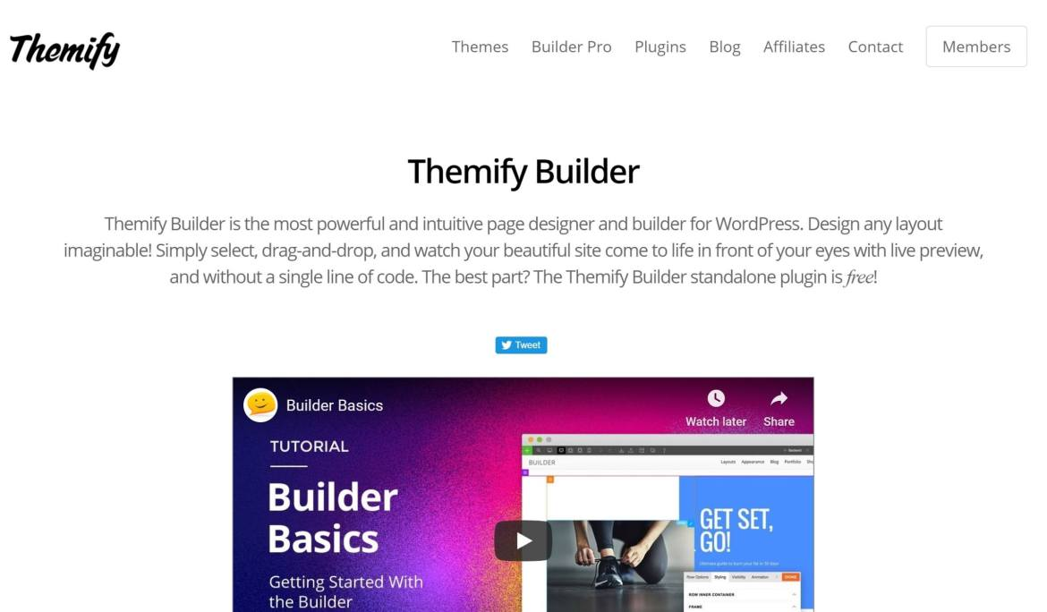 Themify Builder page builder plugin